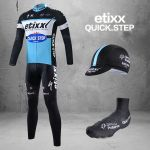Long sleeve cycling jersey set cap shoe cover 3d padding 3 in1
