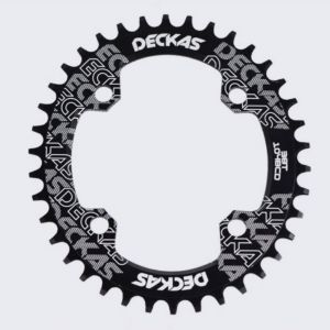 Cycling MTB Deckas Chainring 104BCD Oval Black/Red Colour 34T-38T