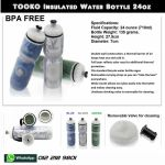 TOOKO Insulated BPA FREE Bottle 24oz