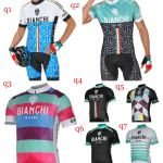 Team kits Short sleeve cycling jersey shorts padding bib Bianchi milano