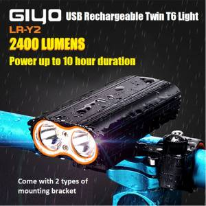 GIYO LR-Y2 2400 Lumens USB Rechargeable Twin T6 Light