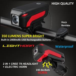 LIGHTHORN 2 IN 1 CREE T6 HEADLIGHT+ ELECTRIC HORN