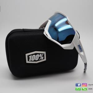 100% Speedtrap White / Hiper Blue Lens (clearance)