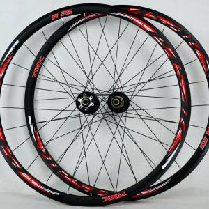 Pasak R35 700C disc brake lightweight wheelset roadbike clincher road rims [RED]