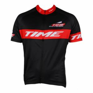 TIME MEGEVE MONT BLANC SHORT SLEEVE JERSEY - BLACK / RED