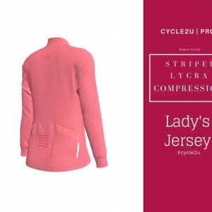CYCLE2U STRIPED LYCRA COMPRESSION Lady's Long Sleeve Cycling Jersey